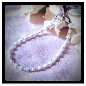 Vintage Small White Cubes Choker Necklace
